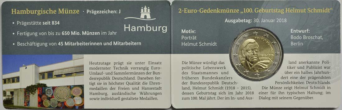 Lieferumfang:Deutschland : 2 Euro Helmut Schmidt  2018 Stgl.