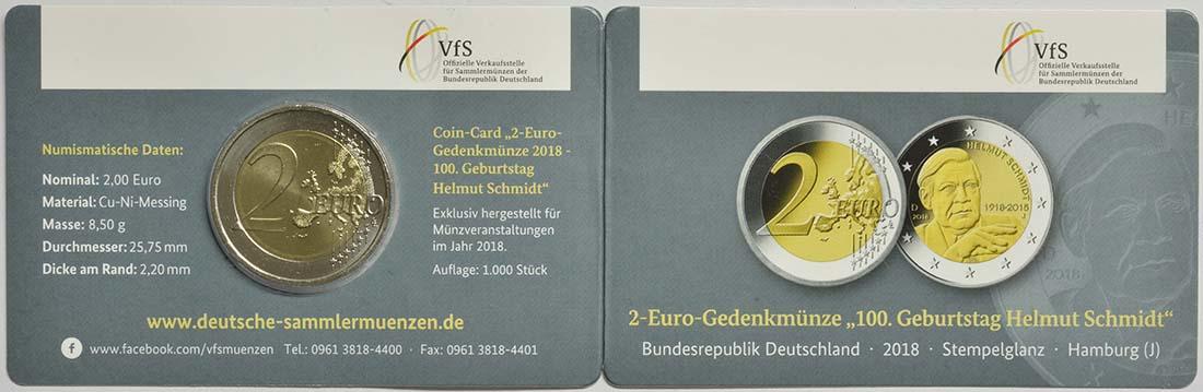 Zertifikat:Deutschland : 2 Euro Helmut Schmidt  2018 Stgl.