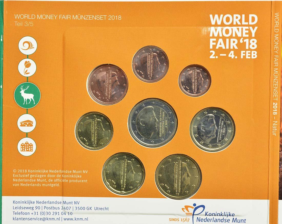 Rückseite:Niederlande : 3,88 Euro KMS Niederlande Natur - World Money Fair 2018  2018 Stgl.
