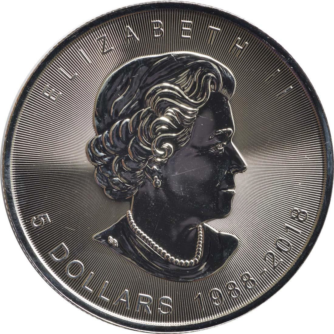 Rückseite :Kanada : 5 Dollar 30 Jahre Maple Leaf  2018 Stgl.