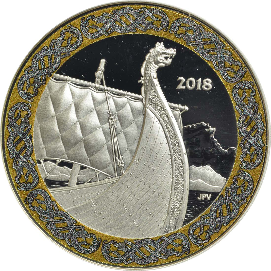 Bild der Vorderseite :Kanada - 20 Dollar Nordische Galionsfiguren - The Dragon´s Sail  2018 PP