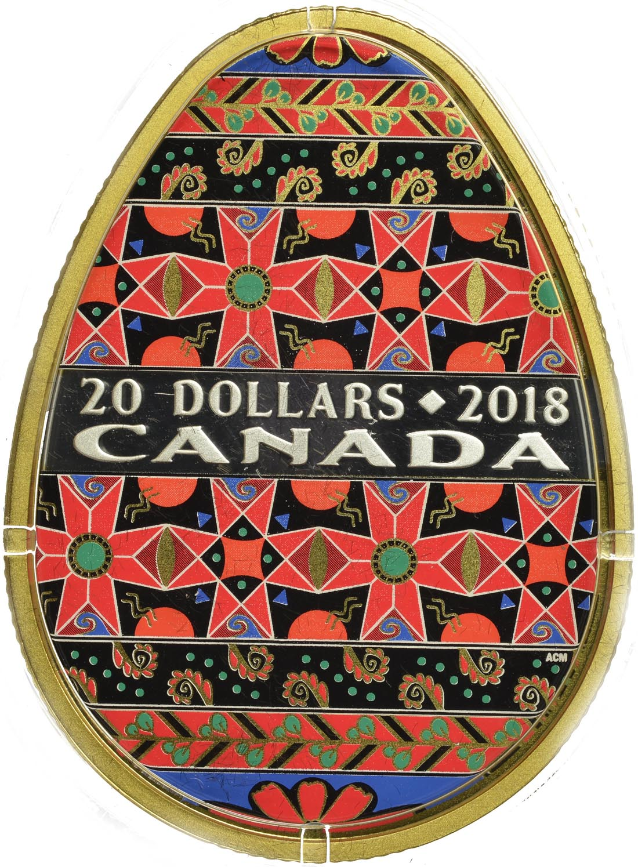 Vorderseite :Kanada : 20 Dollar Ukrainische Pysanka - in Eiform  2018 PP