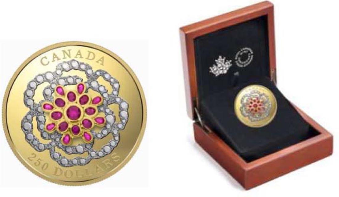 Kanada : 250 Dollar Ein Kronjuwel - mit Platinauflage und 17 Rubinen  2018 PP