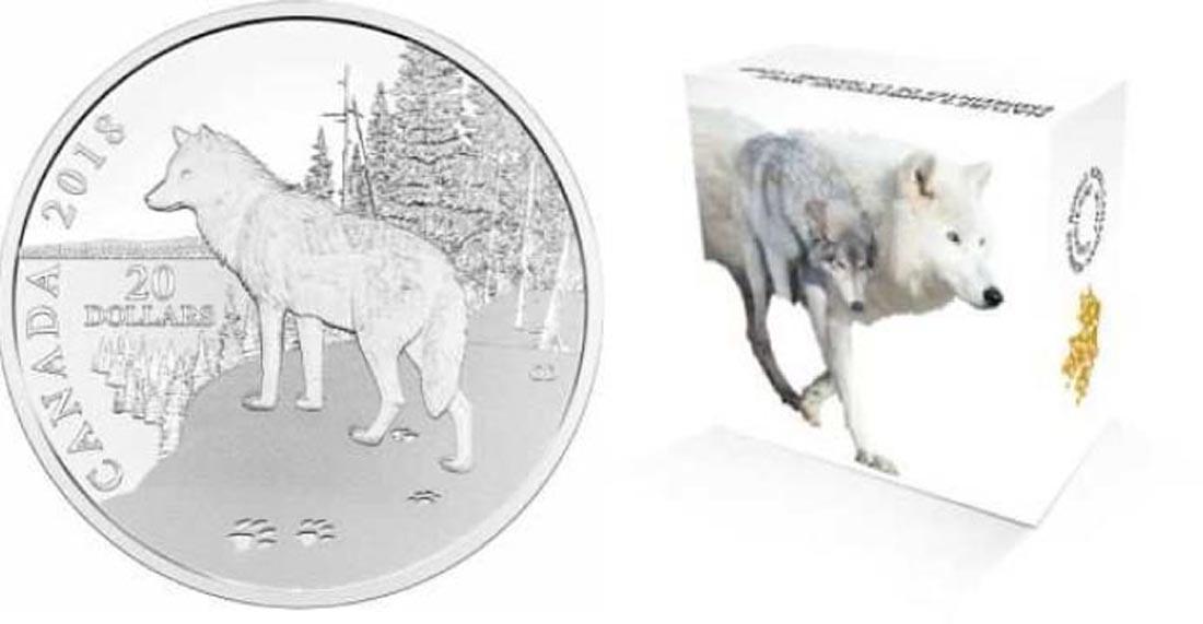 Kanada : 20 Dollar Wolf - Impressionen der Natur  2018 PP
