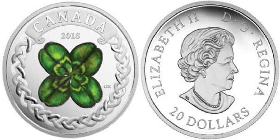 Kanada : 20 Dollar Vierblättriges Kleeblatt  2018 PP