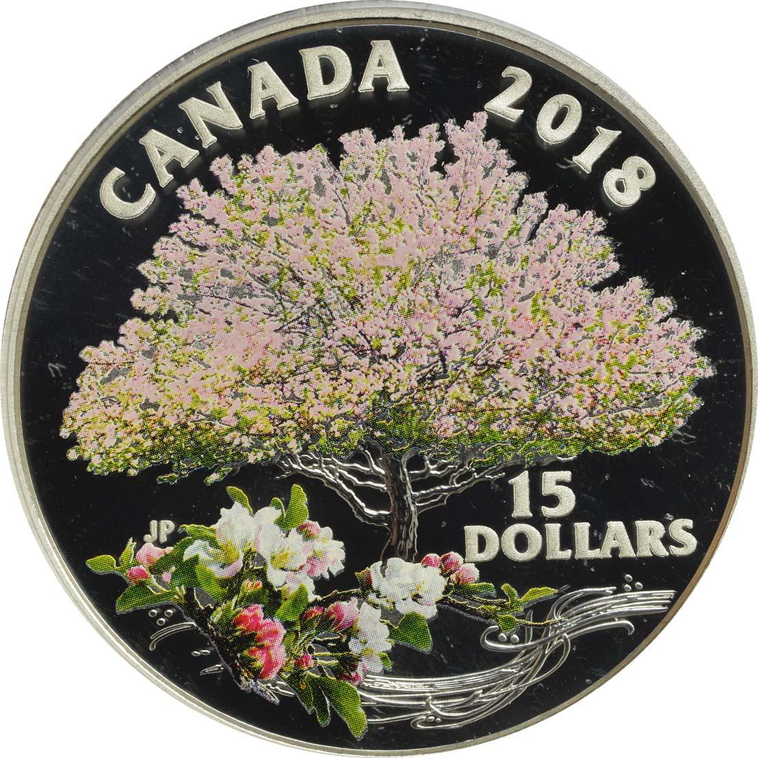Vorderseite:Kanada : 15 Dollar Apfelblüte  2018 PP