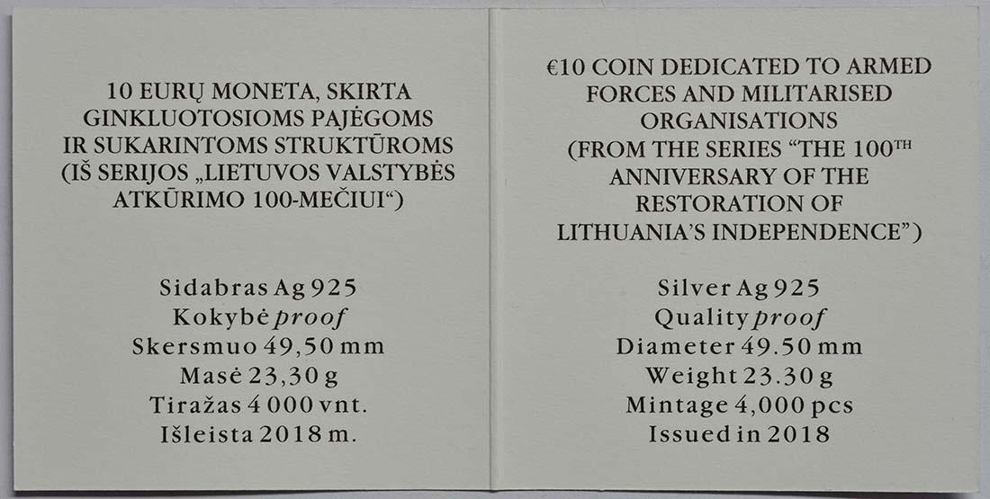 Zertifikat:Litauen : 10 Euro 100 Jahre Unabhängigkeit  2018 PP