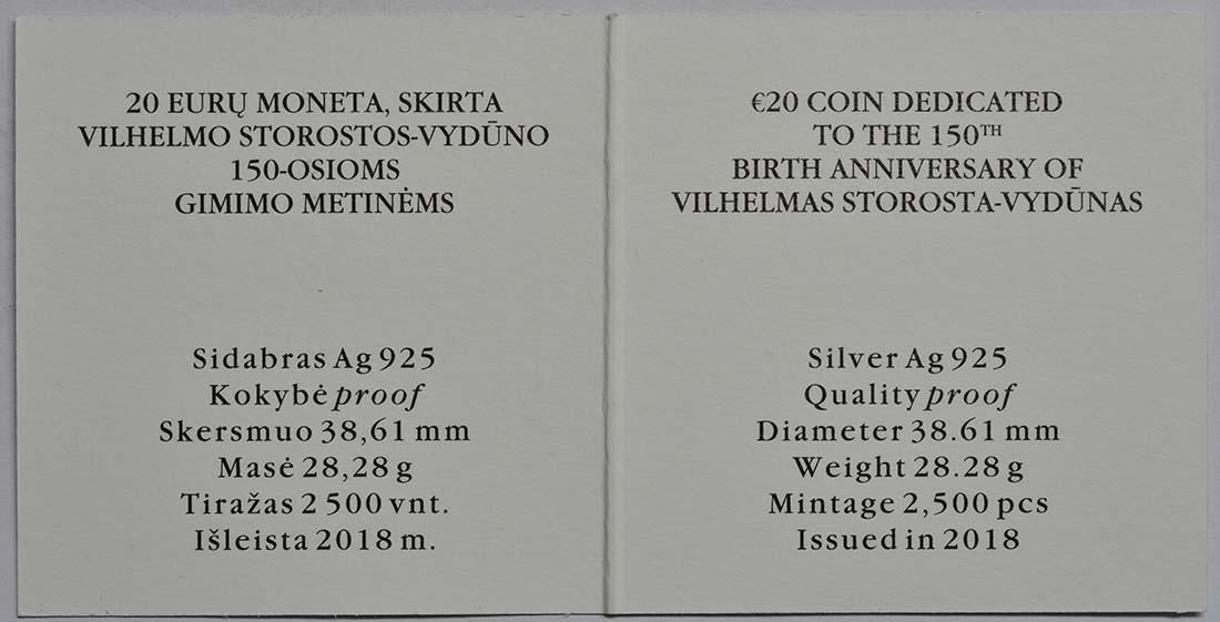 Zertifikat:Litauen : 20 Euro 150. Geburtstag von Wilhelm Storstone-Vydune  2018 PP