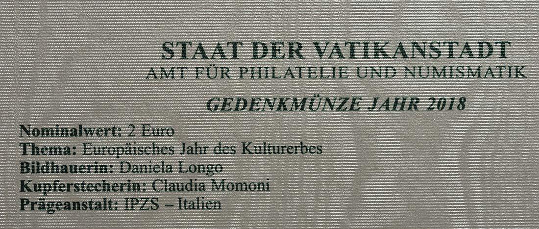 Zertifikat:Vatikan : 2 Euro Europäisches Jahr des Kulturerbes  2018 Stgl.