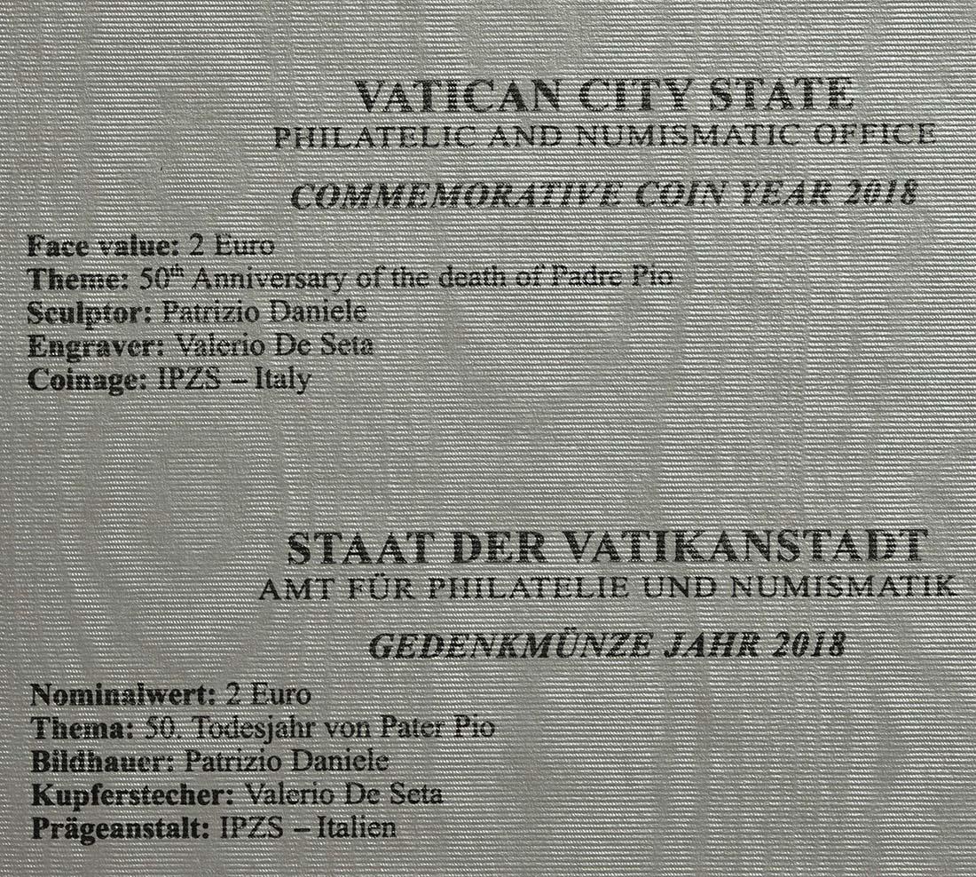 Zertifikat:Vatikan : 2 Euro 50. Jahrestag des Todes von Pater Pio  2018 bfr