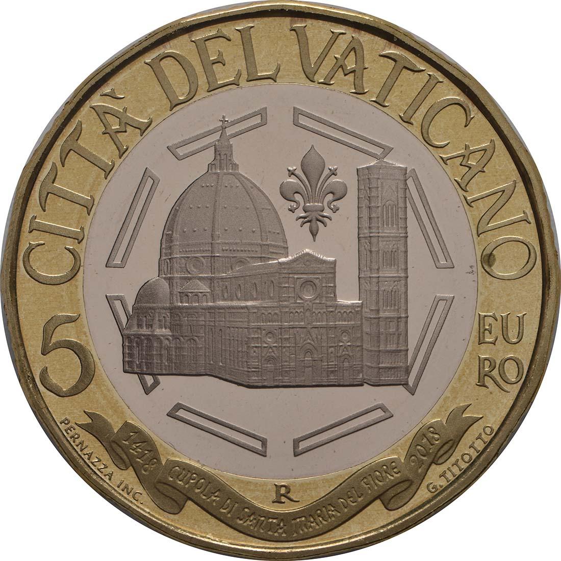 Vorderseite:Vatikan : 5 Euro 600 Jahre Kuppel von Santa Maria del Fiore  2018 PP