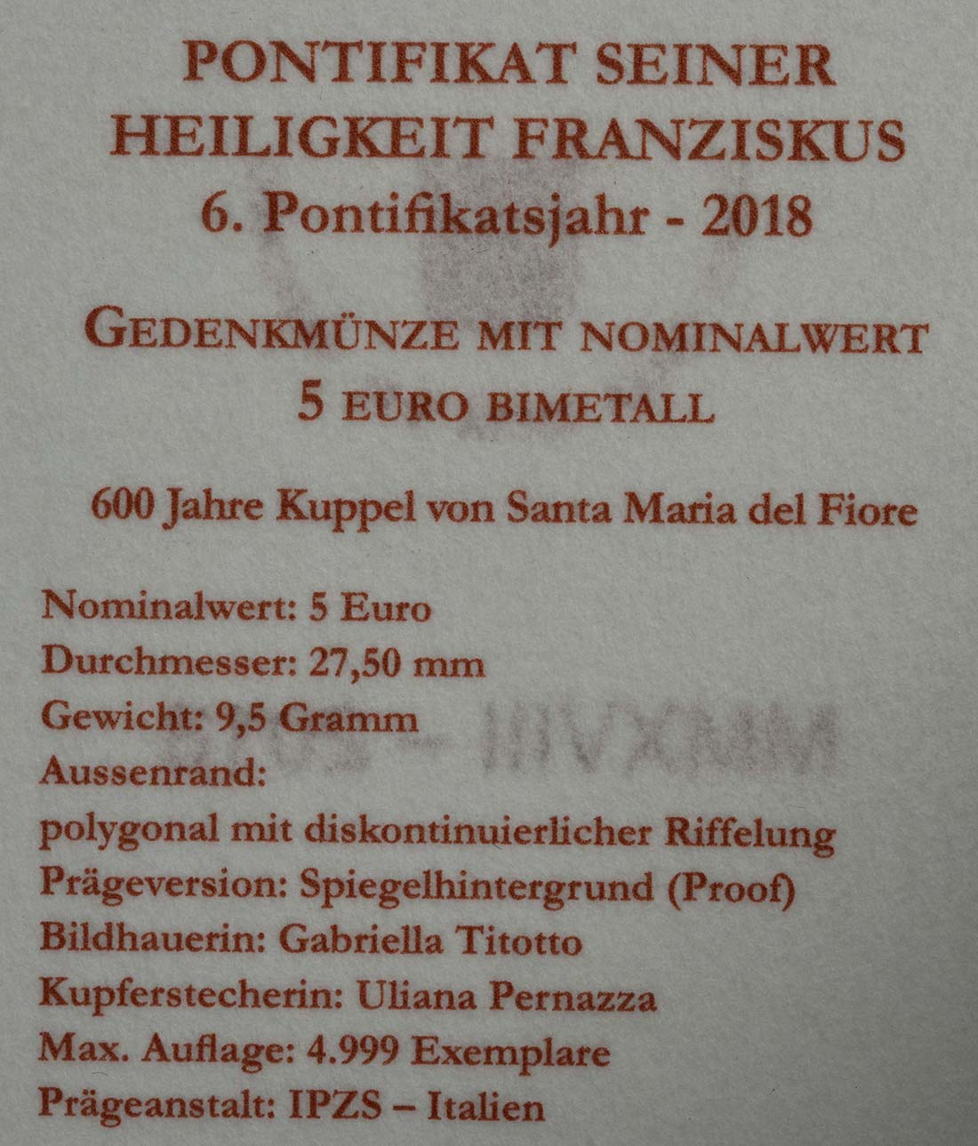 Zertifikat:Vatikan : 5 Euro 600 Jahre Kuppel von Santa Maria del Fiore  2018 PP