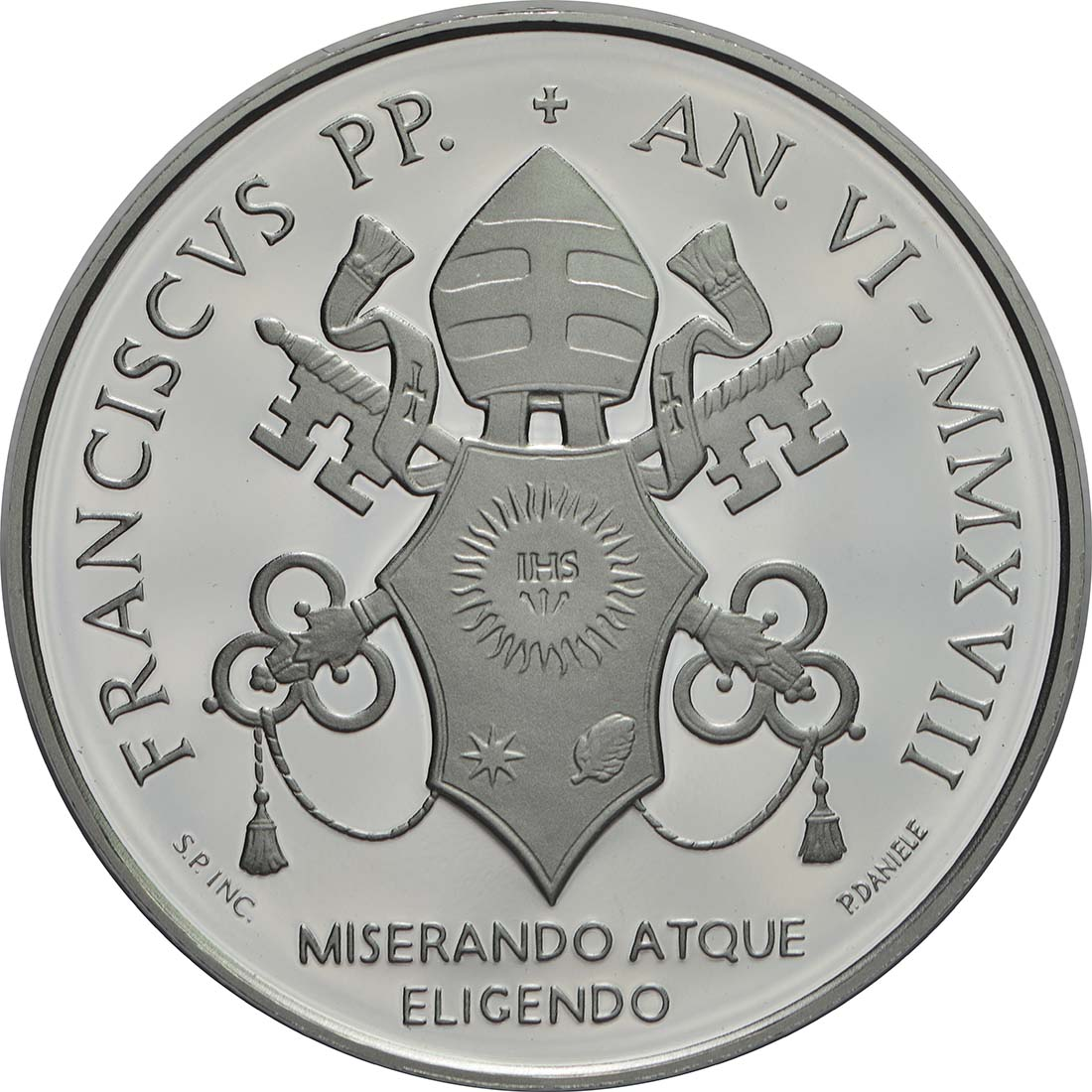 Rückseite:Vatikan : 5 Euro 40. Todesjahr von Papst Paul VI.  2018 PP