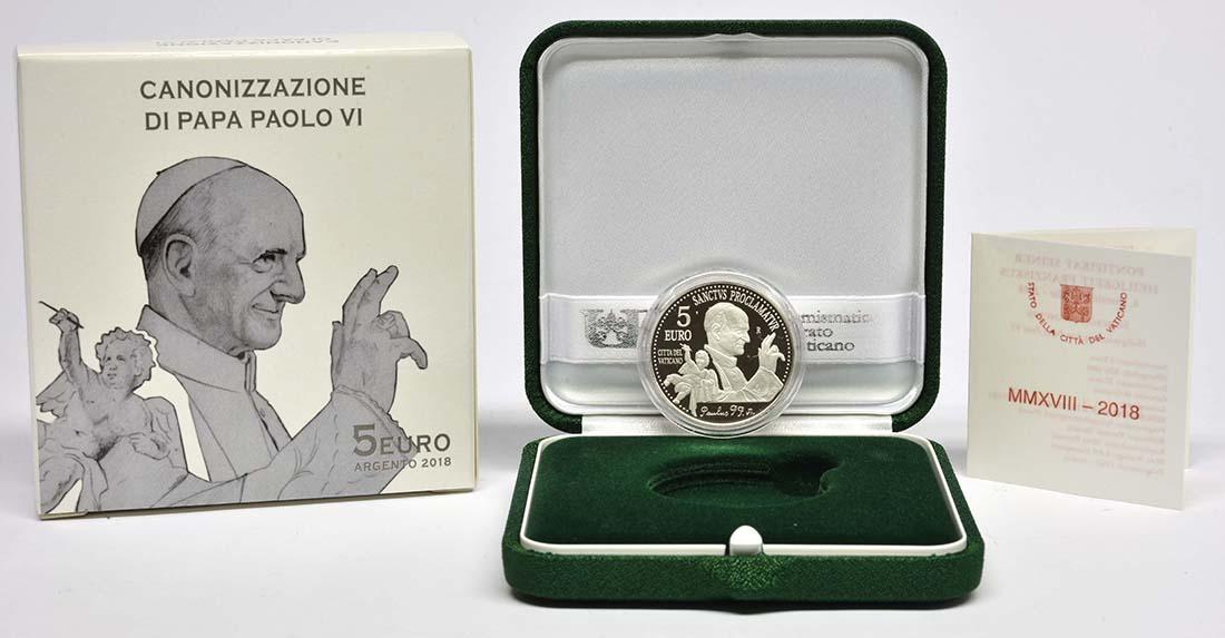Lieferumfang:Vatikan : 5 Euro 40. Todesjahr von Papst Paul VI.  2018 PP