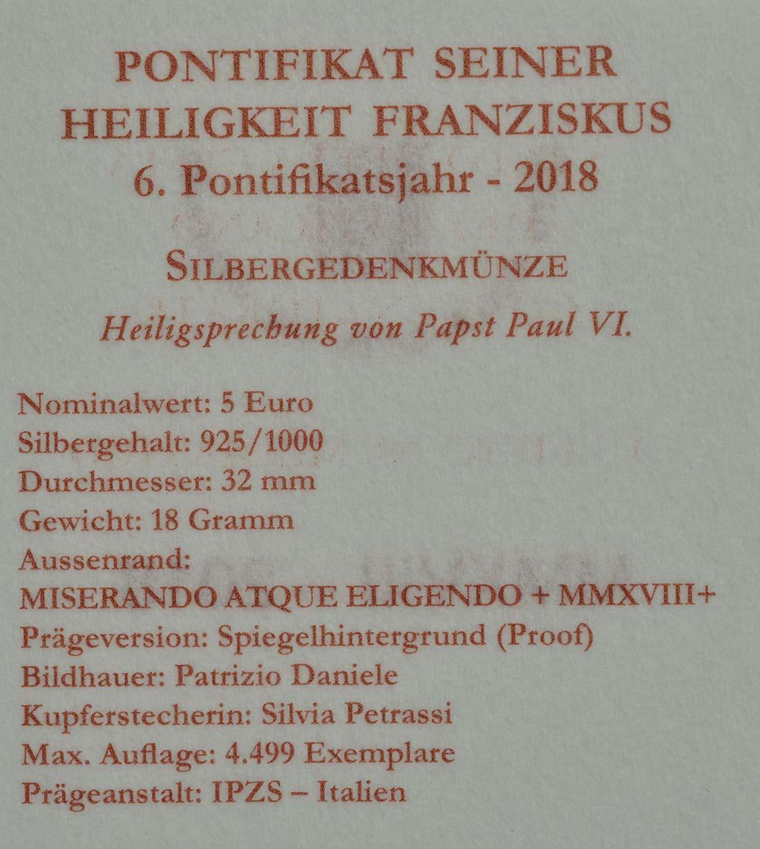 Zertifikat:Vatikan : 5 Euro 40. Todesjahr von Papst Paul VI.  2018 PP