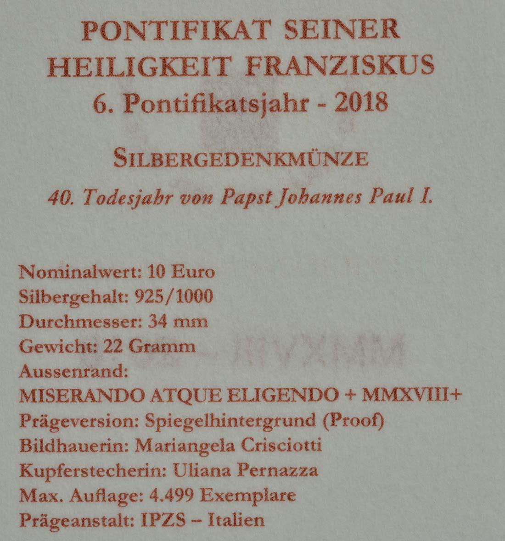 Zertifikat:Vatikan : 10 Euro 40. Todesjahr von Papst Johannes Paul I.  2018 PP