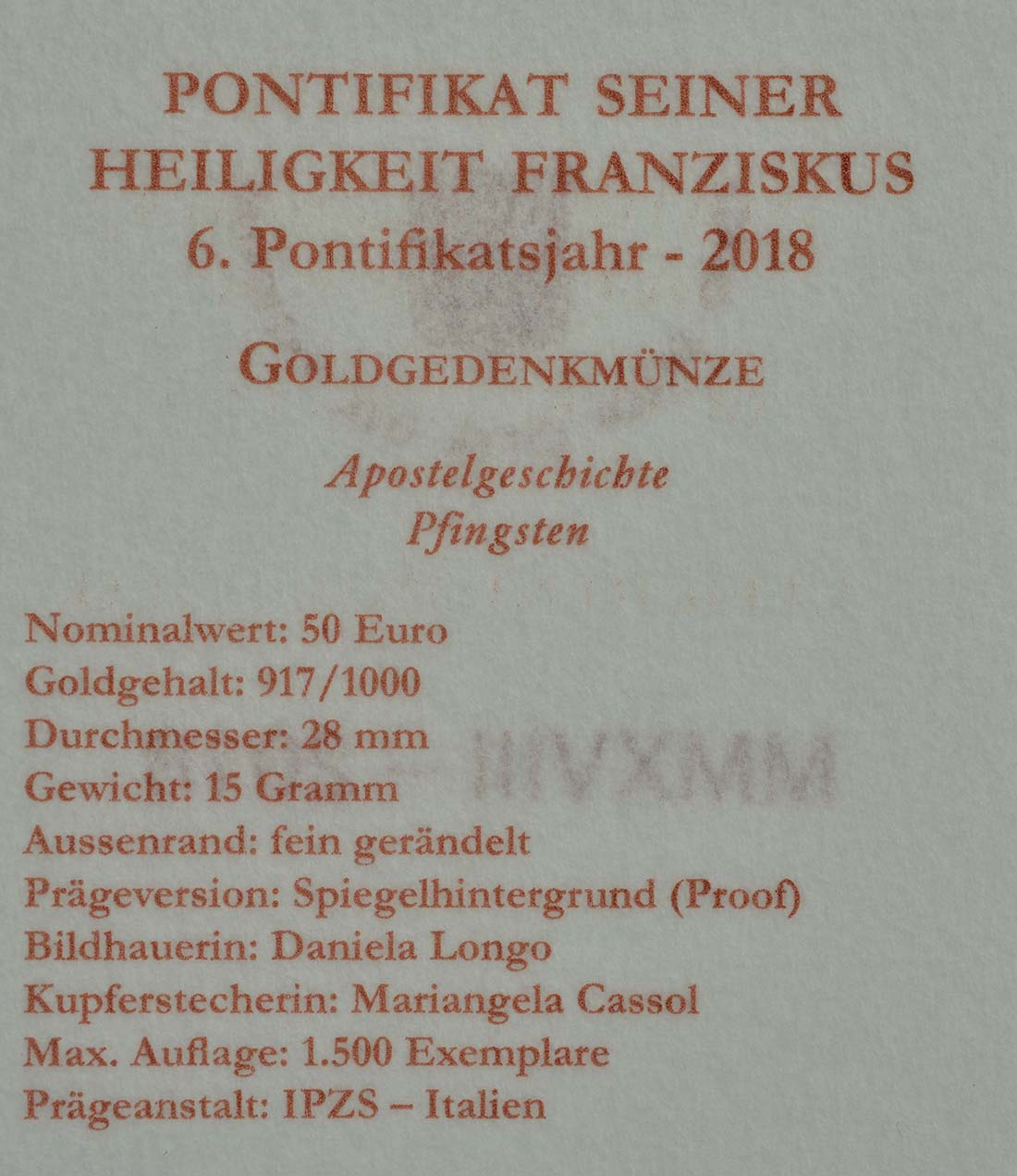 Zertifikat:Vatikan : 50 Euro Die Kirche in Jerusalem  2018 PP