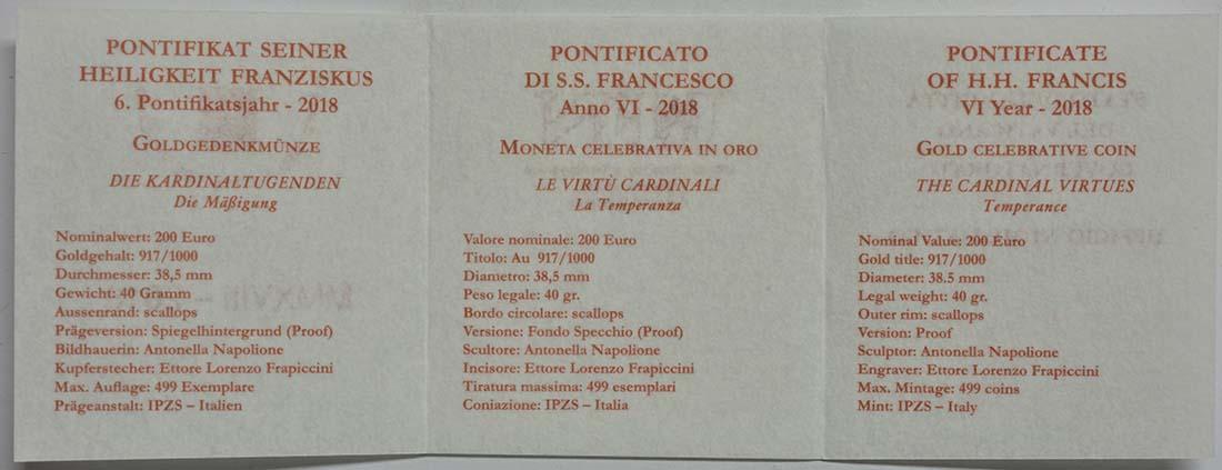 Zertifikat:Vatikan : 200 Euro Die Kardinaltugenden - Die Mäßigung  2018 PP