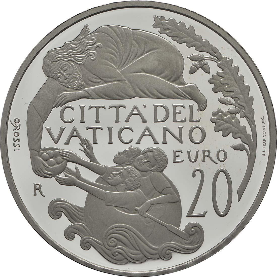 Rückseite:Vatikan : 23,88 Euro KMS Vatikan mit 20 Euro Gedenkmünze  2018 PP