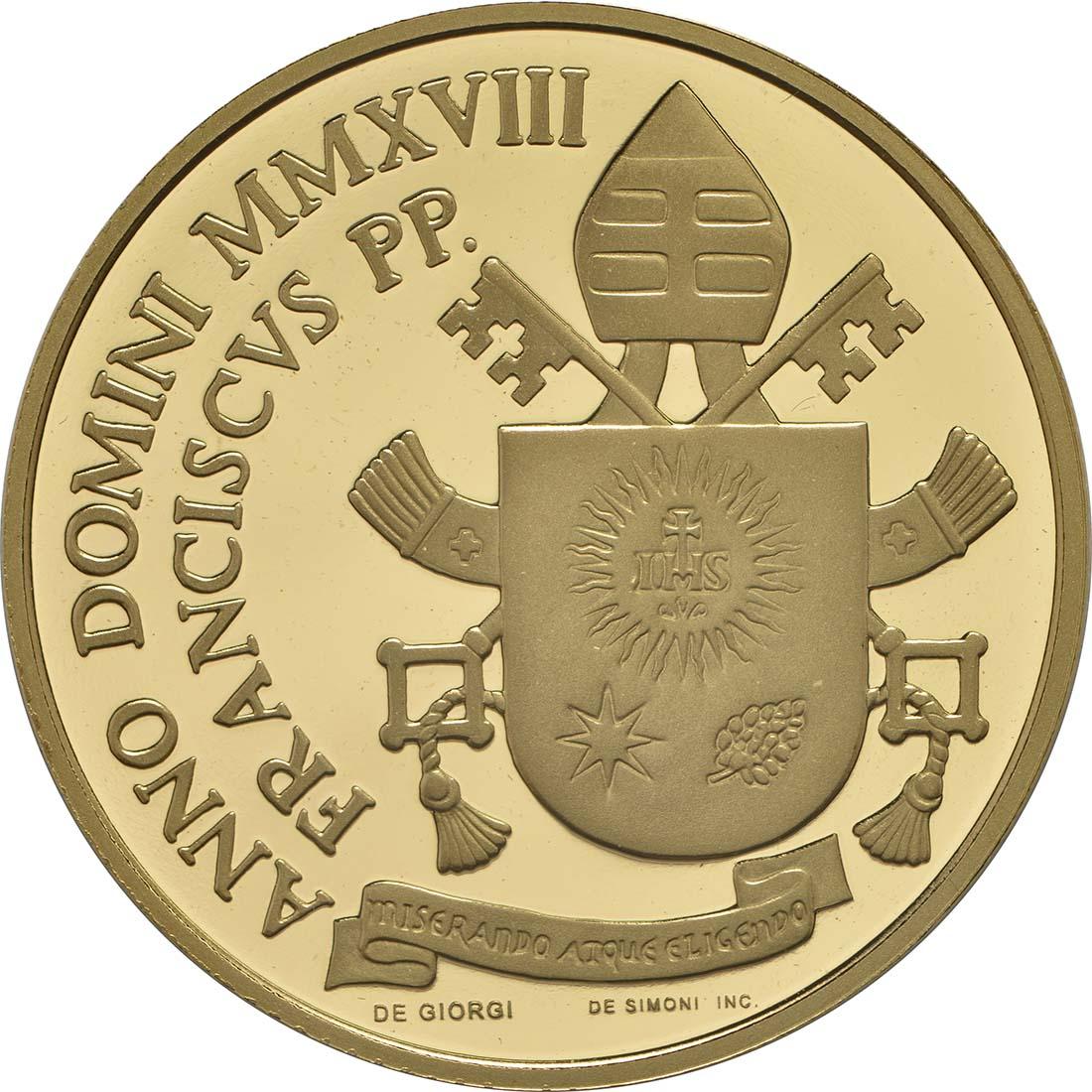 Rückseite:Vatikan : 53,88 Euro KMS Vatikan mit 50 Euro Gedenkmünze  2018 PP