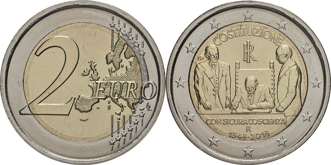 Italien : 2 Euro 70 Jahre Verfassung Italiens  2018 Stgl.