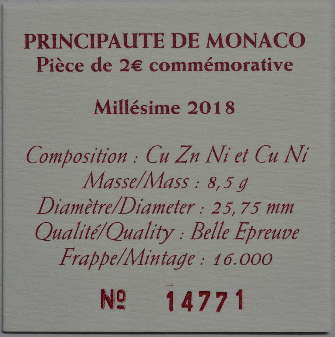 Bild des Zertifikates :Monaco - 2 Euro 250. Geburtstag von Francois-Joseph Bosio  2018 PP
