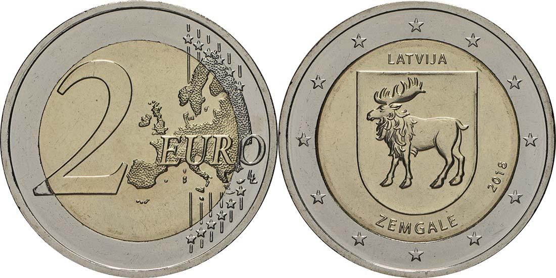 Übersicht:Lettland : 2 Euro Zemgale  2018 bfr