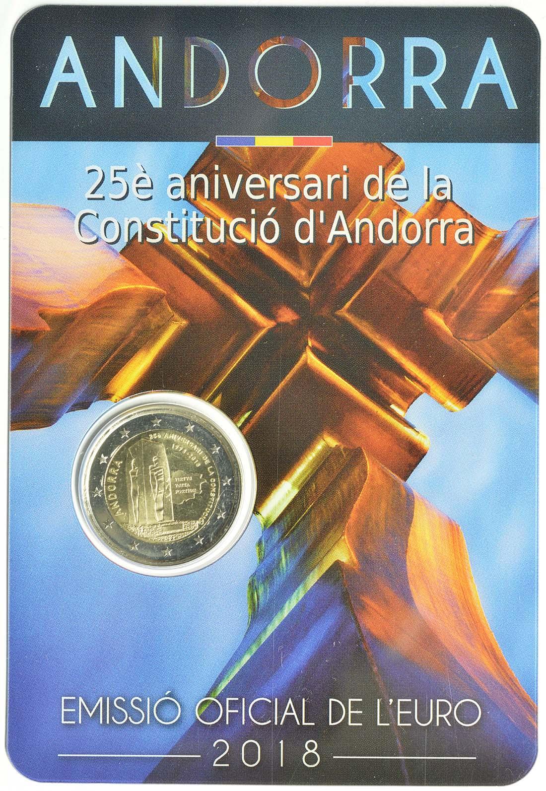 Andorra : 2 Euro  25. Jahrestag der Verfassung von Andorra  2018 Stgl.
