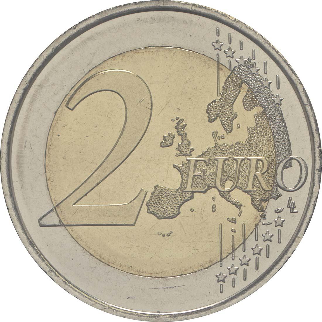 Vorderseite :Andorra : 2 Euro  25. Jahrestag der Verfassung von Andorra  2018 Stgl.