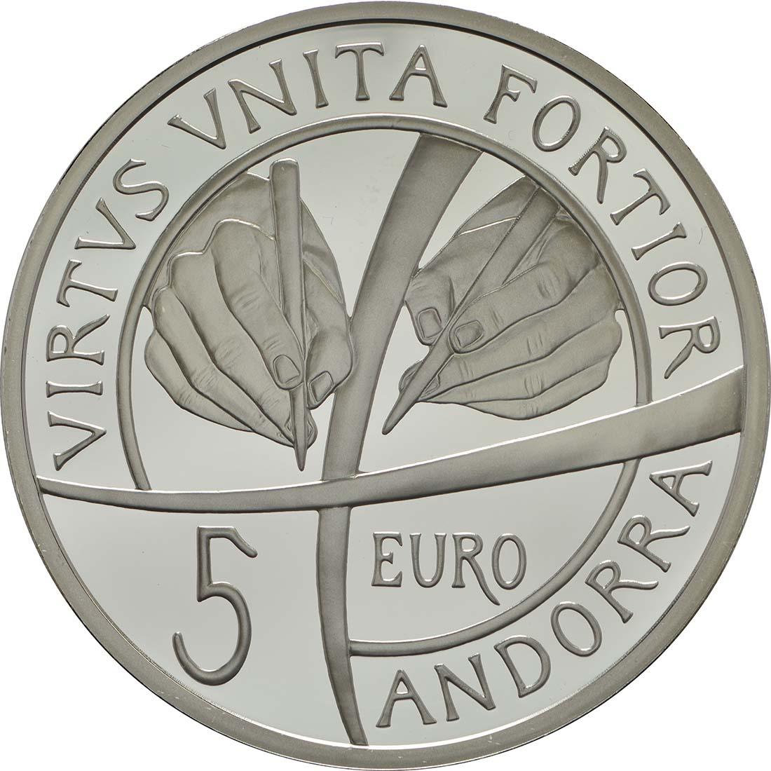 Rückseite:Andorra : 5 Euro 25. Jahrestag der Verfassung von Andorra  2018 PP