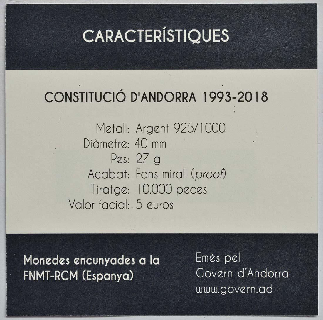 Zertifikat :Andorra : 5 Euro 25. Jahrestag der Verfassung von Andorra  2018 PP