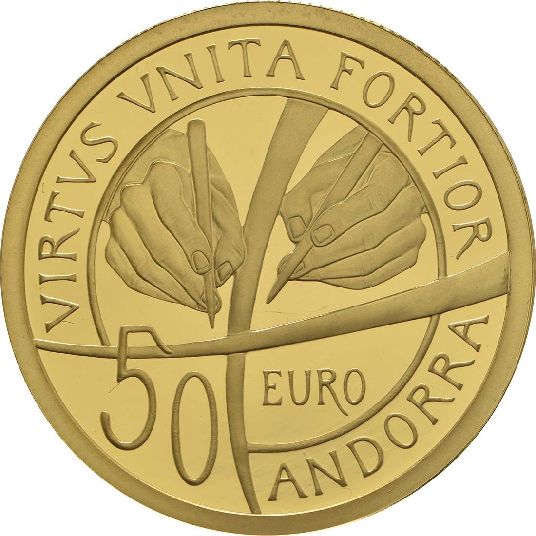 Rückseite :Andorra : 50 Euro 25. Jahrestag der Verfassung von Andorra  2018 PP