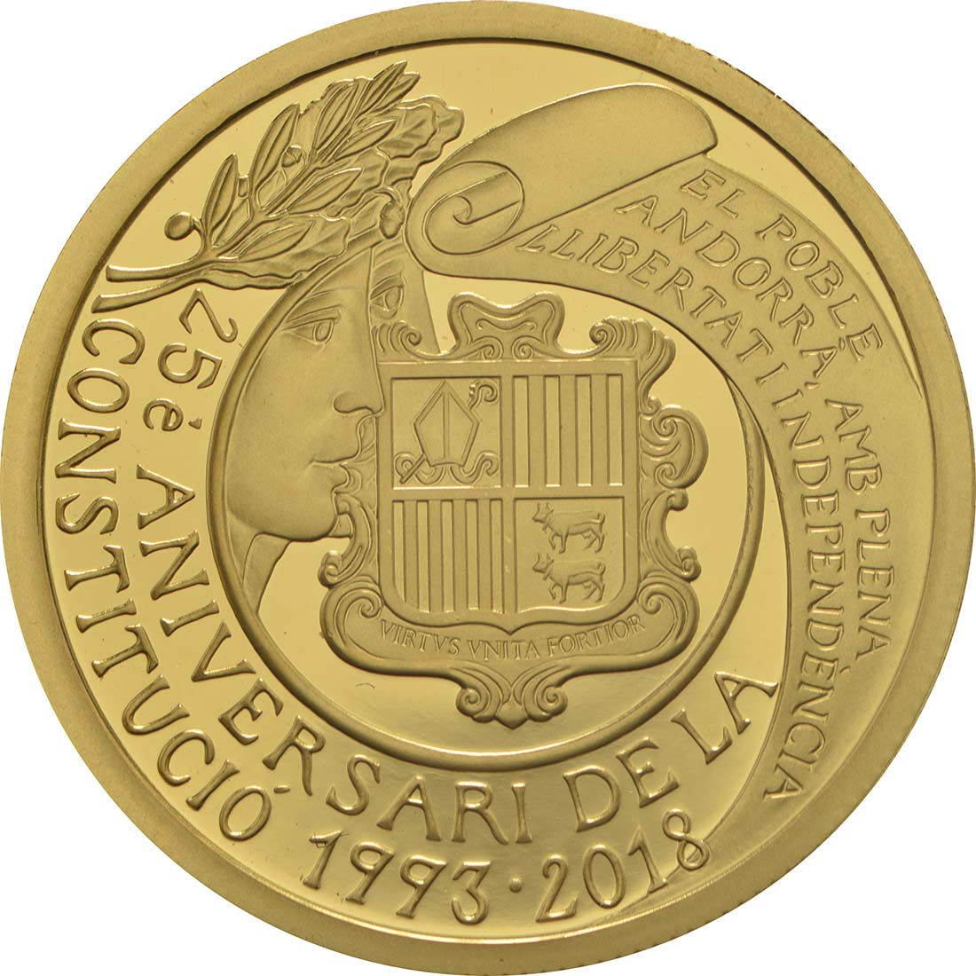 Vorderseite:Andorra : 50 Euro 25. Jahrestag der Verfassung von Andorra  2018 PP