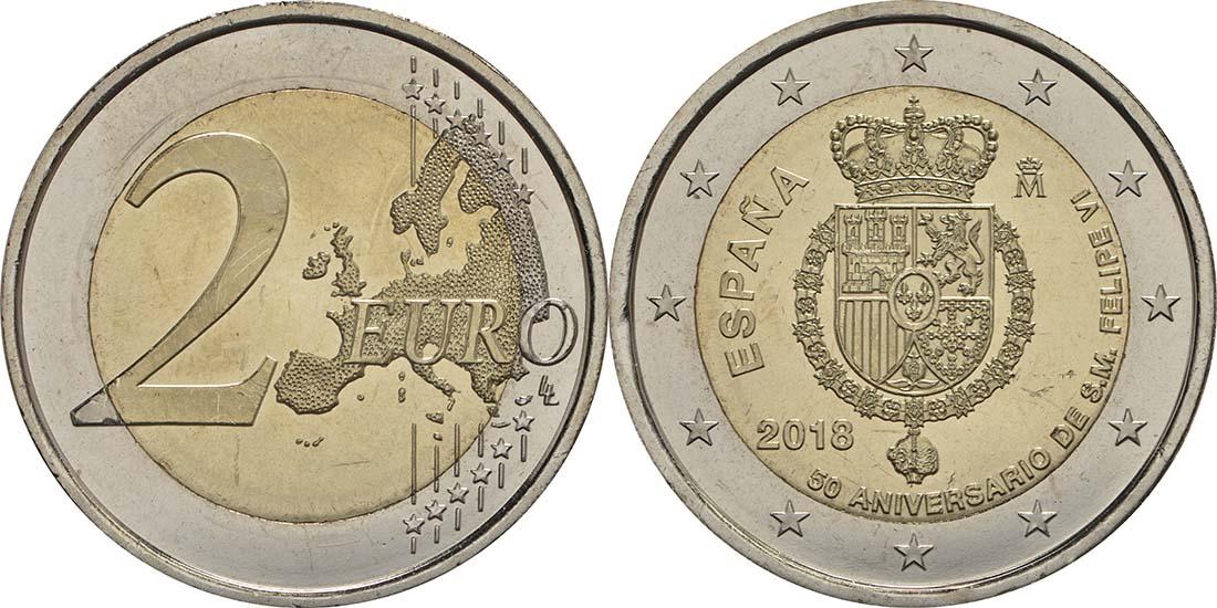 Spanien : 2 Euro 50. Geburtstag von König Felipe VI  2018 bfr