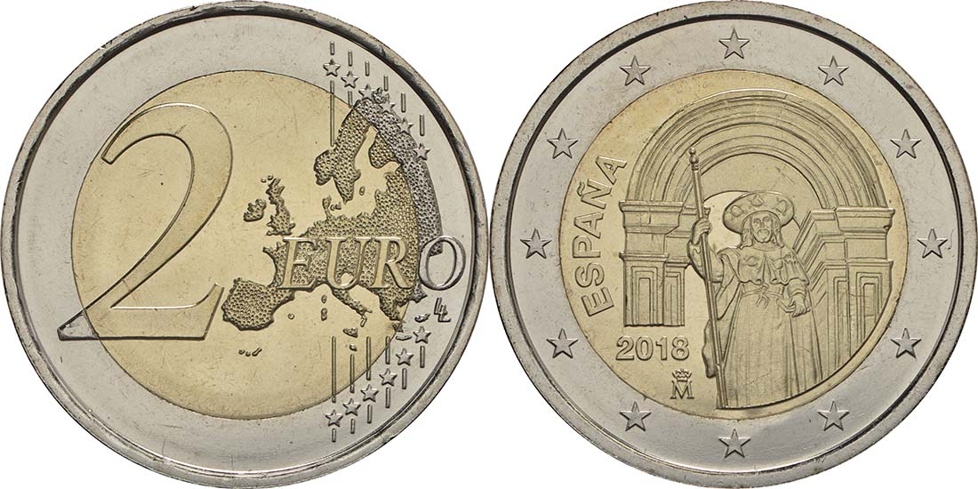 Spanien : 2 Euro Santiago de Compostela  2018 bfr