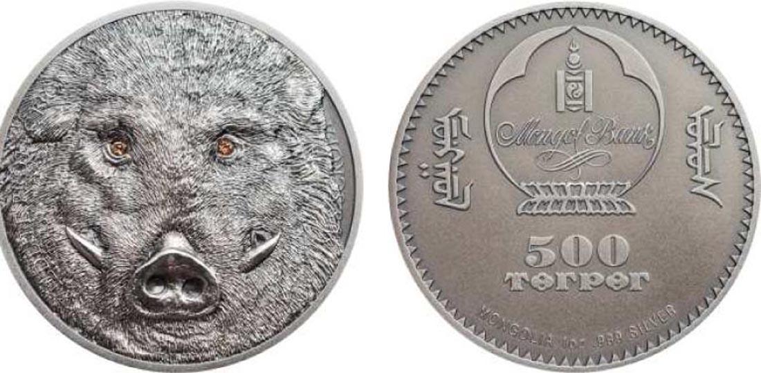 Mongolei : 500 Tögrög Wildschwein mit Swarowskikristall - Antikfinish  2018 Stgl.
