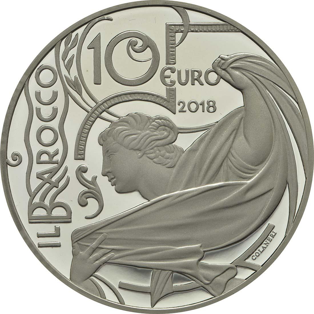 Vorderseite :Italien : 10 Euro Barock und Rokoko  2018 PP