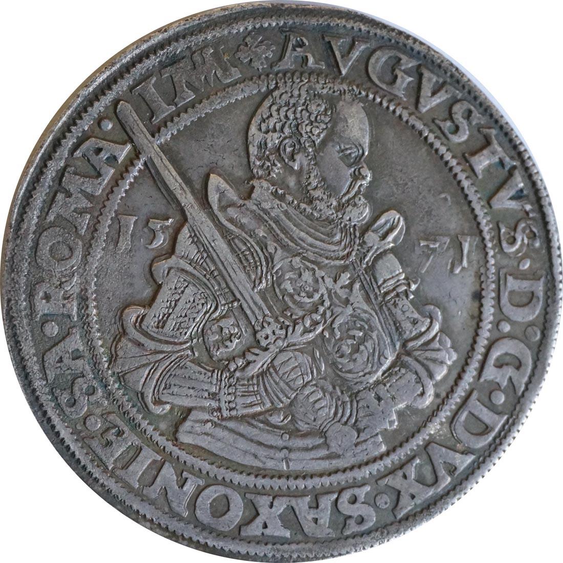 Rückseite:Deutschland : 1 Taler August 1553 - 1586 patina 1571 ss/vz.