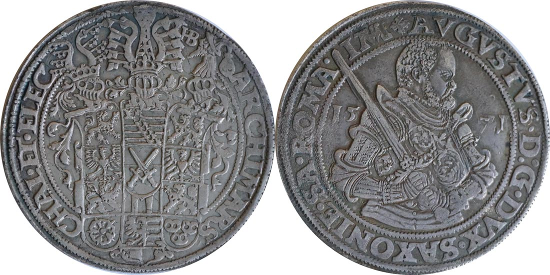 Deutschland : 1 Taler August 1553 - 1586 patina 1571 ss/vz.
