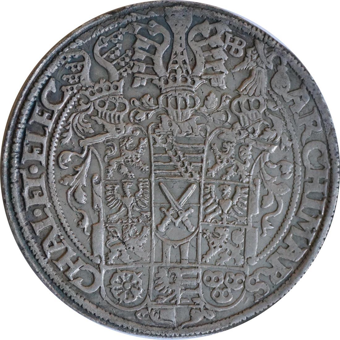 Vorderseite:Deutschland : 1 Taler August 1553 - 1586 patina 1571 ss/vz.