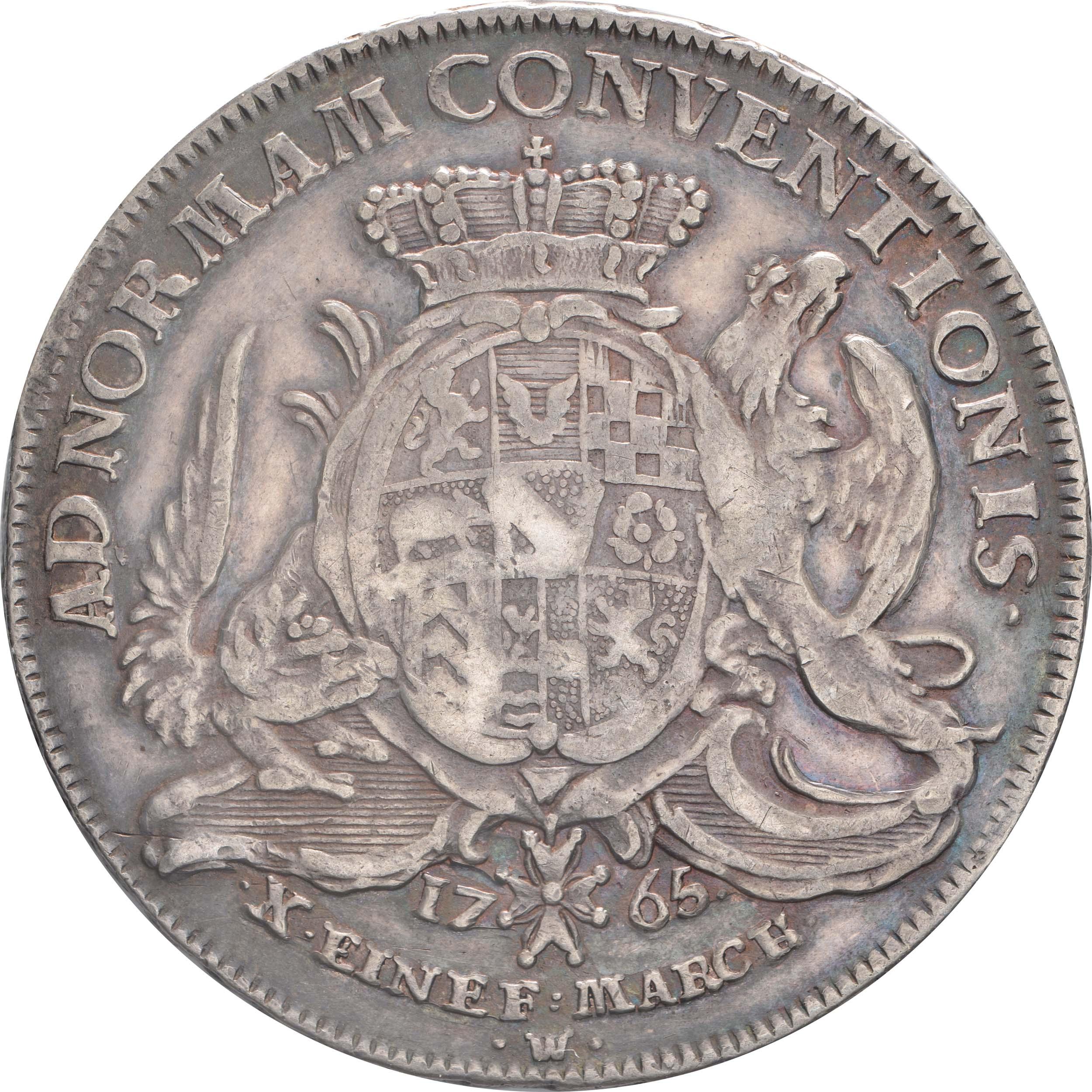 Rückseite:Deutschland : 1 Konventionstaler Karl Friedrich 1738 - 1800 patina 1765 vz.