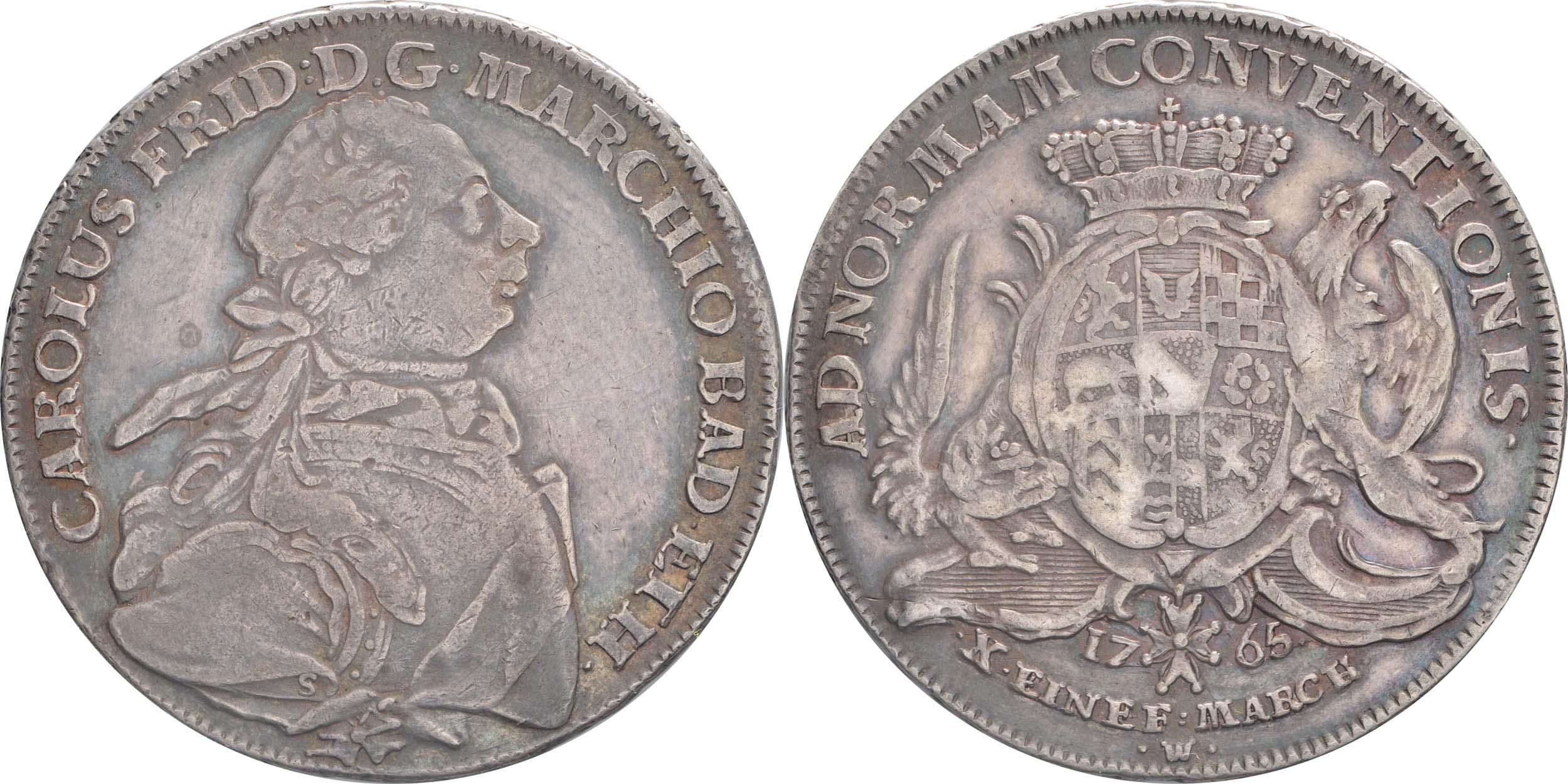 Lieferumfang:Deutschland : 1 Konventionstaler Karl Friedrich 1738 - 1800 patina 1765 vz.