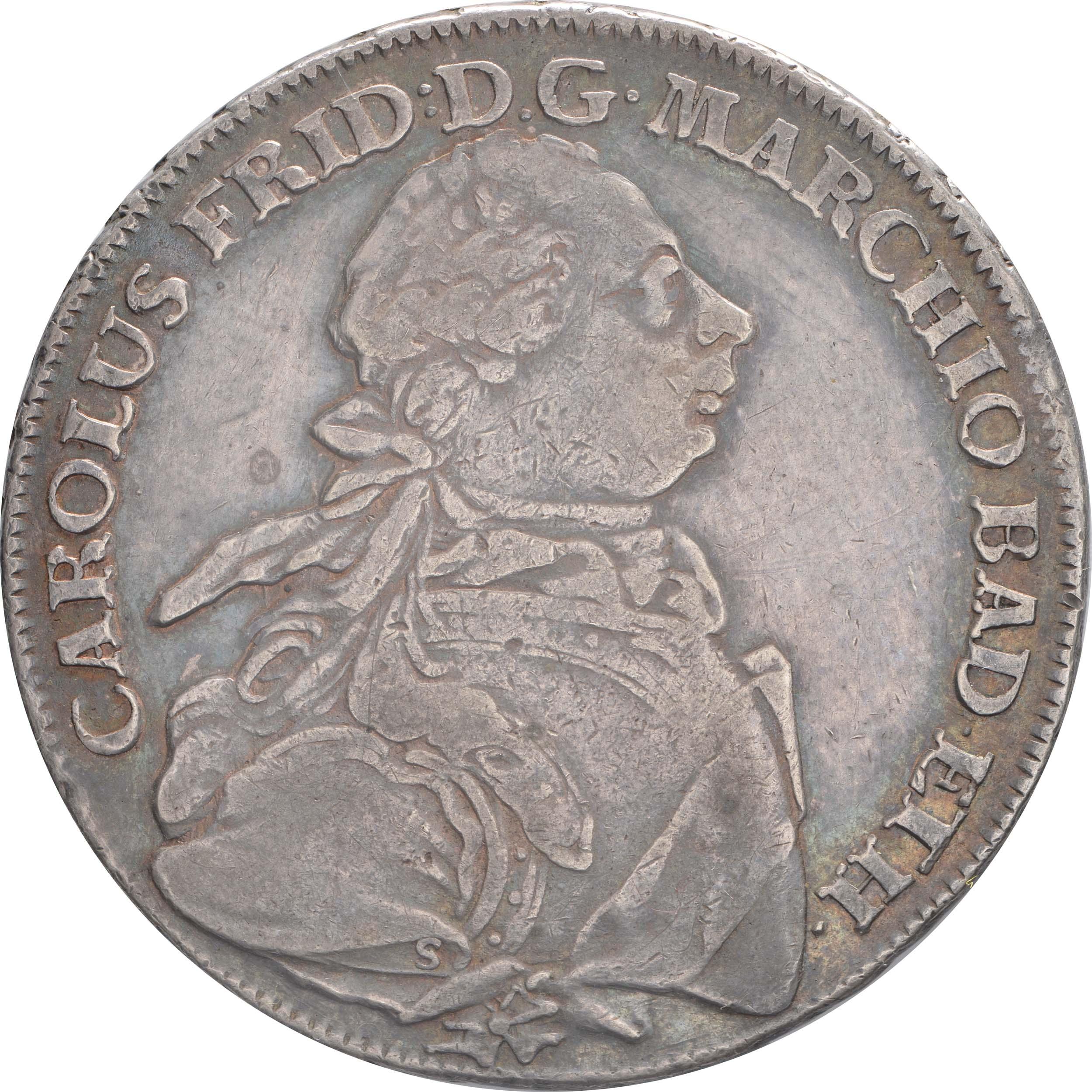 Vorderseite:Deutschland : 1 Konventionstaler Karl Friedrich 1738 - 1800 patina 1765 vz.