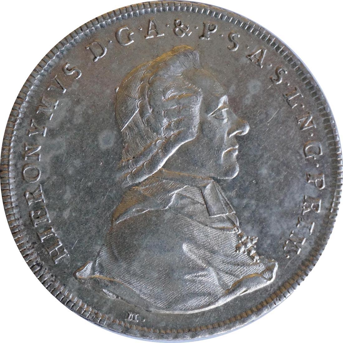 Rückseite :Deutschland : 1 Taler Hieronymus von Colloredeo 1772 - 1803  1784 vz.