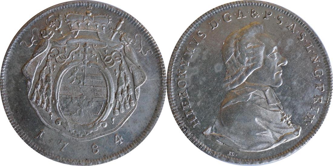 Deutschland : 1 Taler Hieronymus von Colloredeo 1772 - 1803  1784 vz.