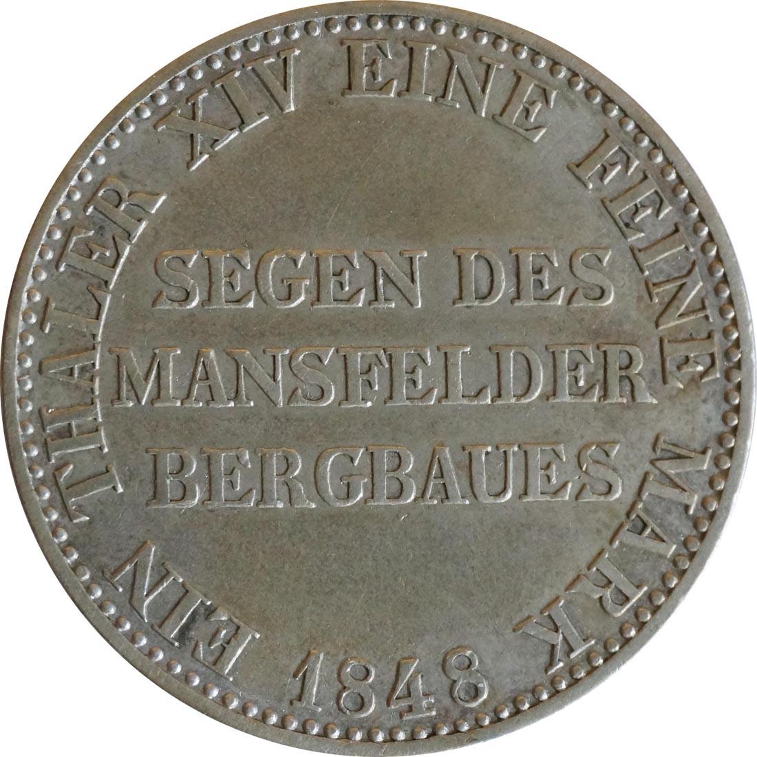 Vorderseite:Deutschland : 1 Ausbeutetaler   1848 ss.