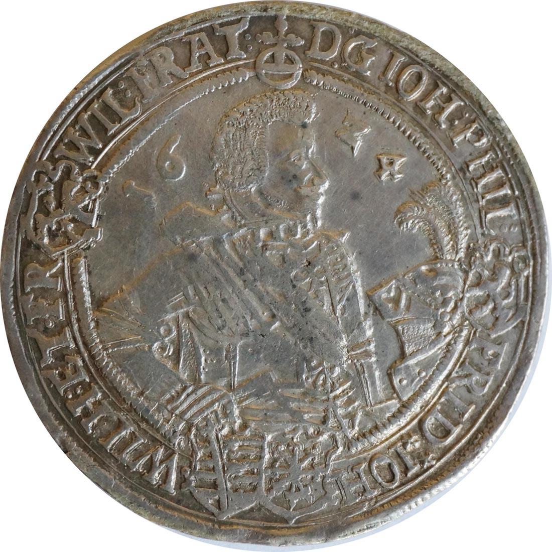 Rückseite:Deutschland : 1 Reichstaler Johann Philipp u. seine Brüder 1603 - 1625 patina 1624 ss/vz.