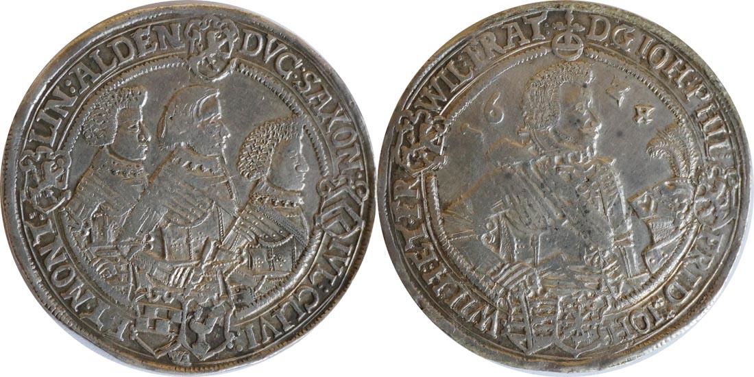 Lieferumfang:Deutschland : 1 Reichstaler Johann Philipp u. seine Brüder 1603 - 1625 patina 1624 ss/vz.