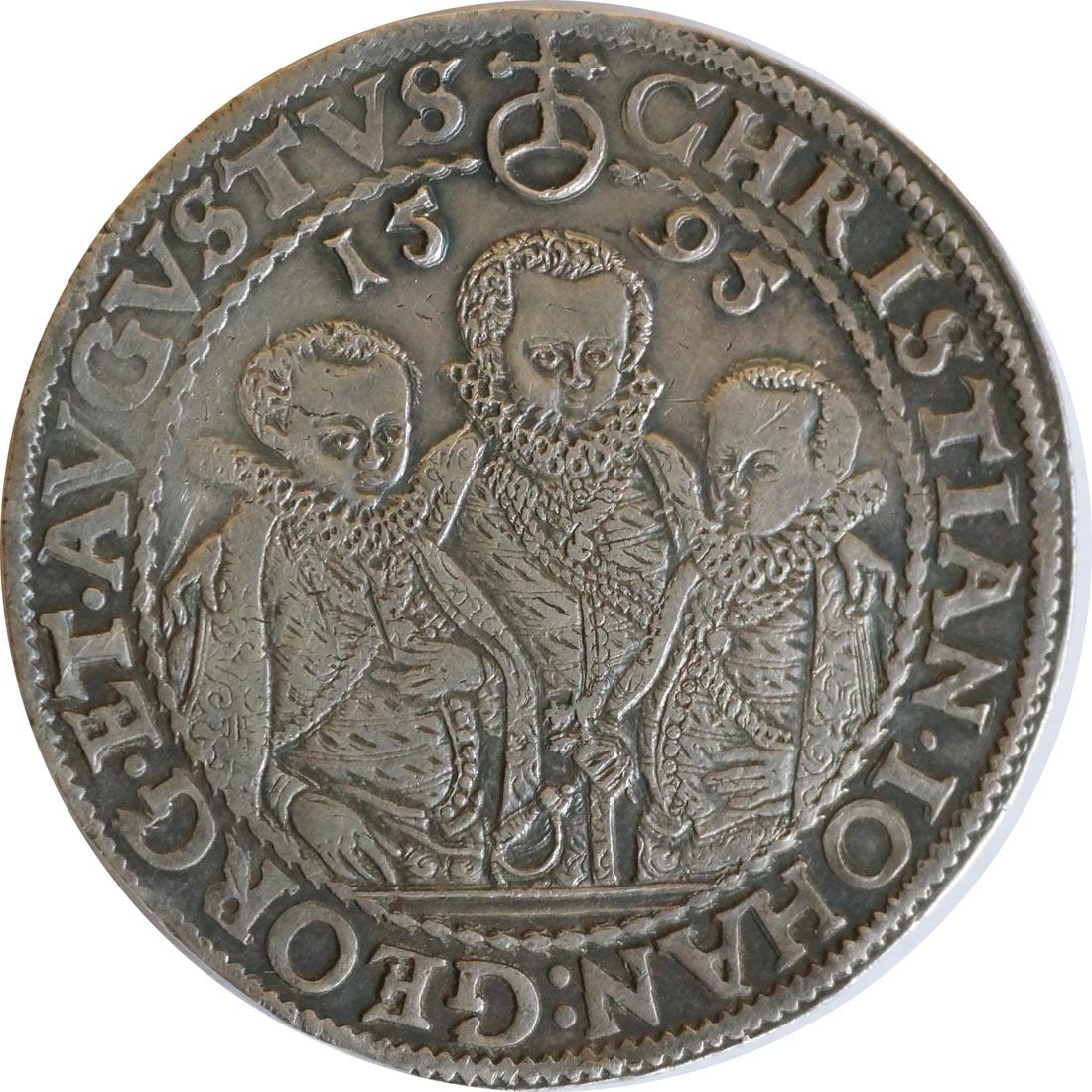 Rückseite :Deutschland : 1 Reichstaler Christian III, Joh. Georg I und August 1591 - 1601 patina, winz. Kratzer 1595 vz.
