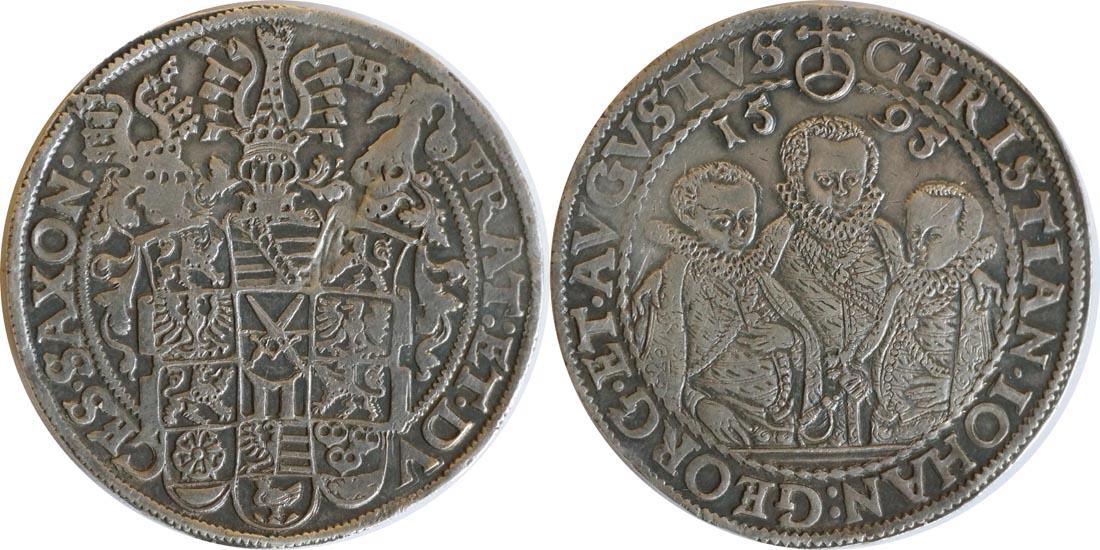 Deutschland : 1 Reichstaler Christian III, Joh. Georg I und August 1591 - 1601 patina, winz. Kratzer 1595 vz.